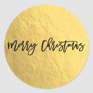 Gold Foil Shine Modern Script Holiday Christmas Classic Round Sticker