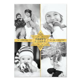 Gold Foil Star Hanukkah Holiday Photo Greetings 13 Cm X 18 Cm Invitation Card