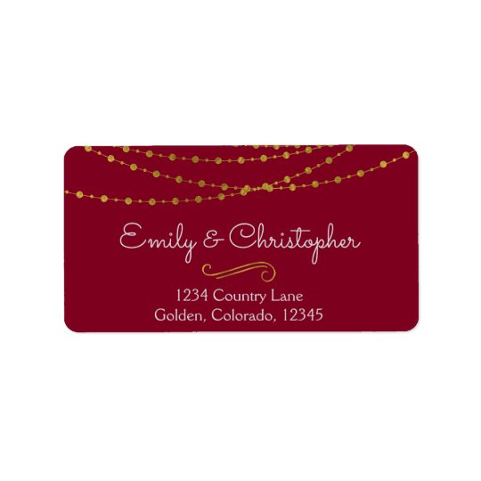 Gold Foil String Lights and Script Wedding Label