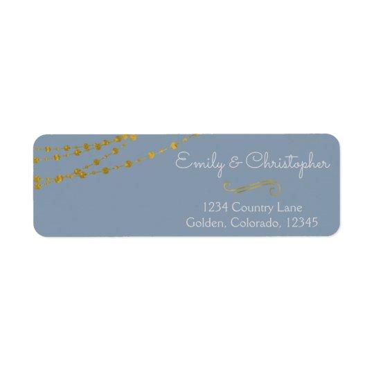 Gold Foil String Lights and Script Wedding Return Address Label