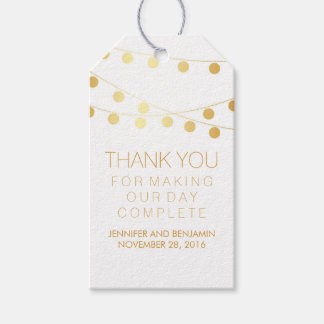 Gold Foil String Lights Elegant Wedding Gift Tags