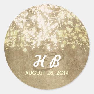 gold foil string lights rustic wedding round sticker