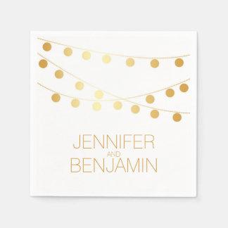 gold foil string lights wedding disposable serviette