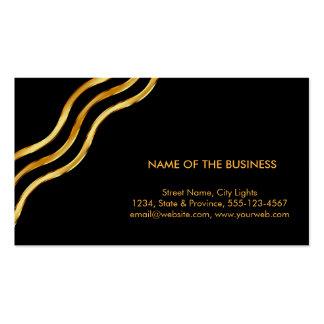 Gold Foil Striped Elegant Retro Curved Pack Of Standard Business Cards