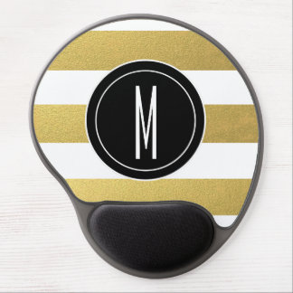 GOLD FOIL STRIPES | BLACK MONOGRAM GEL MOUSE PAD