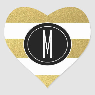 GOLD FOIL STRIPES | BLACK MONOGRAM HEART STICKER