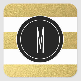 GOLD FOIL STRIPES | BLACK MONOGRAM SQUARE STICKER