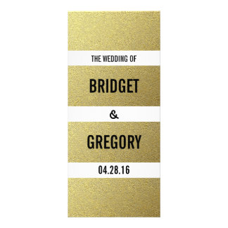 Gold Foil Stripes Wedding Programs Rack Card