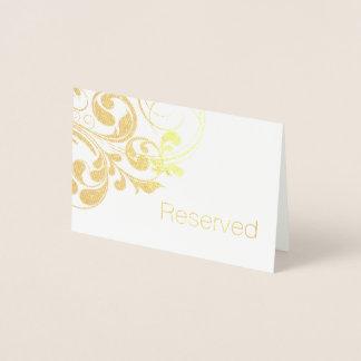 Gold Foil Swirls Elegant Swirly Flourish Reserved Foil Card