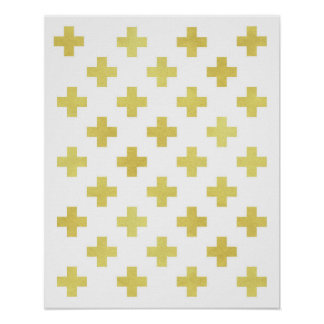 Gold foil Swiss cross art print Modern minimalist