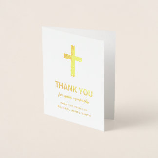 Gold Foil Sympathy Thank You Card with Cross