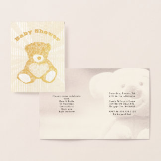 Gold Foil Teddy Bear Family Baby Shower Invitation
