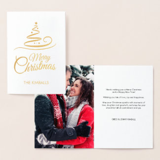 Gold Foil Tree Photo Stripes Merry Christmas Foil Card