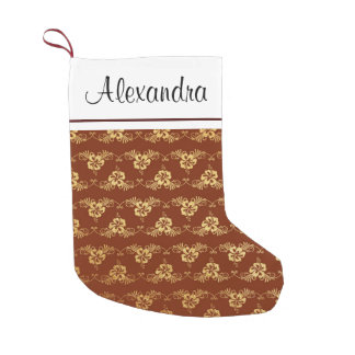 Gold Foil Tropical Flowers and Burgundy Monogram Small Christmas Stocking