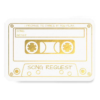Gold Foil Vintage Cassette Tape Song Request Card