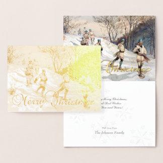 Gold Foil Vintage Christmas Snowshoeing & Greeting Foil Card