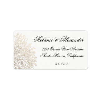 Gold Foil Vintage Lace Address Labels, Stickers Address Label