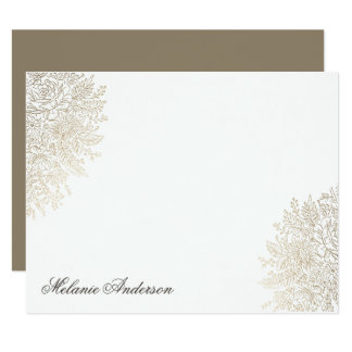 Gold Foil Vintage Lace Elegant Custom Note Card