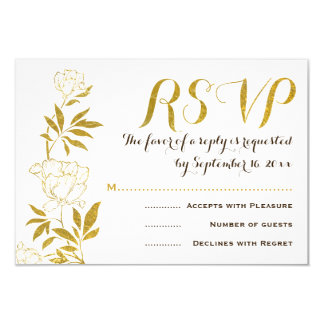 Gold foil vintage peonies floral wedding RSVP Card
