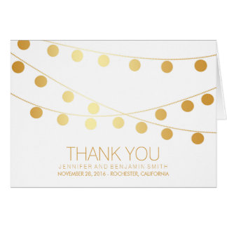 Gold Foil Wedding Lights Thank You Note Card