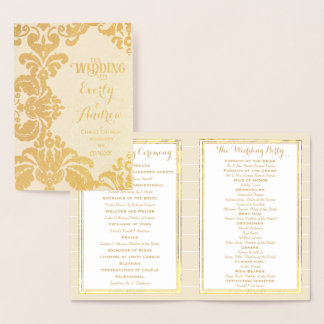 Gold Foil WEDDING PROGRAM Large Damask Foil Card