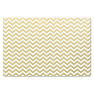 Gold Foil White Chevron Pattern Tissue Paper