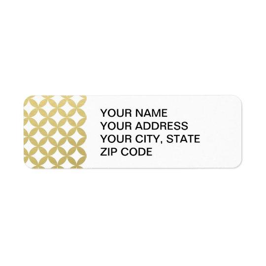 Gold Foil White Diamond Circle Pattern Return Address Label