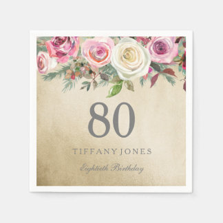 Gold Foil White Pink Rose 80th Birthday Disposable Serviette