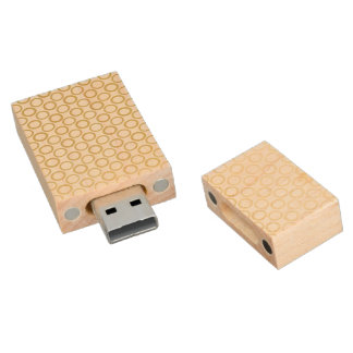 Gold Foil White Polka Dots Pattern Wood USB 2.0 Flash Drive
