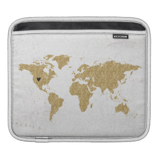 Gold Foil World Map Custom Moveable Heart Location iPad Sleeve