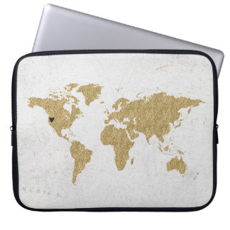 Gold Foil World Map Custom Moveable Heart Location Laptop Sleeve