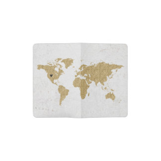 Gold Foil World Map Custom Moveable Heart Location Pocket Moleskine Notebook