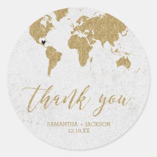 Gold Foil World Map Destination Monogram Wedding Classic Round Sticker