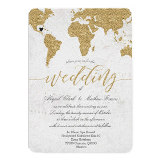 Gold Foil World Map Destination Wedding Invitation