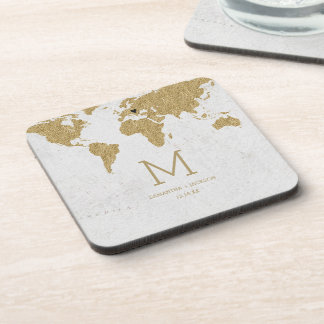 Gold Foil World Map Destination Wedding Monogram Coaster