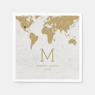 Gold Foil World Map Destination Wedding Monogram Disposable Serviette