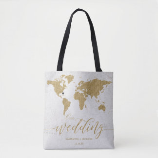 Gold Foil World Map Destination Wedding Monogram Tote Bag