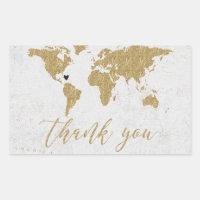 Gold Foil World Map Destination Wedding Thank You