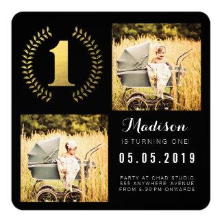 Gold Foil Wreath 1st Birthday Photo Cards 13 Cm X 13 Cm Square Invitation Card