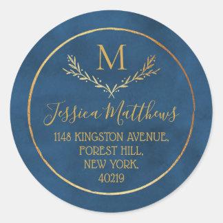 Gold Foil Wreath Custom Monogram Return Address Classic Round Sticker