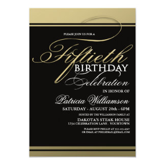 Gold Formal 50th Birthday Invitations