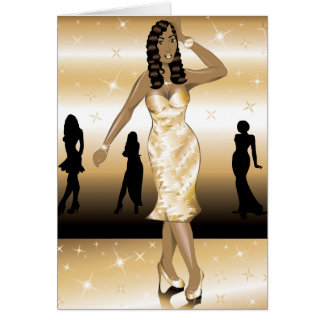 Gold Formal Gown Greeting Card
