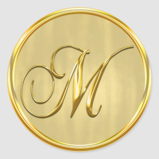 Gold Formal Wedding Monogram M Seal Invitation Round Sticker