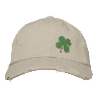 Gold Four Leaf Clover St. Patricks Embroidered Hat