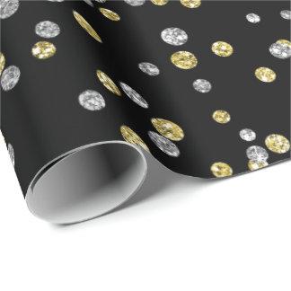 Gold Foxier Diamonds Metallic Black Confetti Lux Wrapping Paper