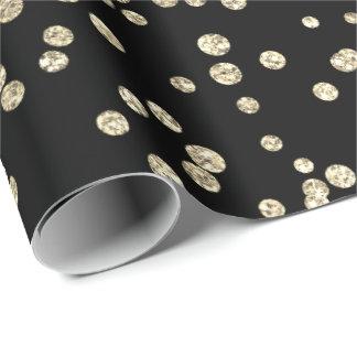 Gold Foxier Diamonds Metallic Black Confetti Wrapping Paper