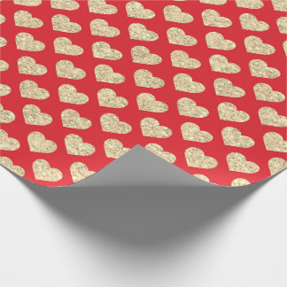 Gold Foxier Glitter Metallic Red Hearts Confetti Wrapping Paper