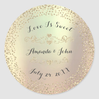 Gold Foxier Glitter Save the Date Love is Sweet Round Sticker