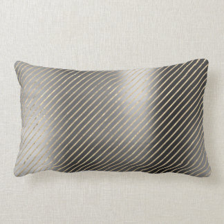 Gold Foxier Graphite Silver Metallic Stripes Lines Lumbar Pillow