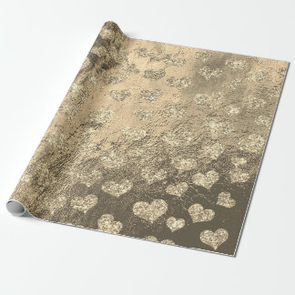 Gold Foxier Hearts Confetti Metallic Sepia Leather Wrapping Paper
